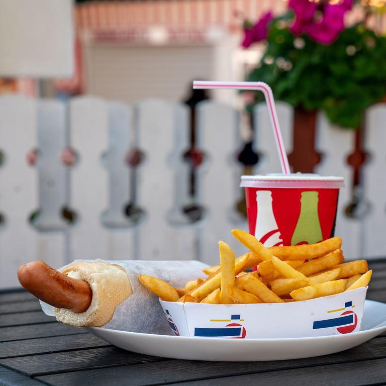 Harlekin Fastfood Hotdog Fransk Poelse Mad Drikke Bakken
